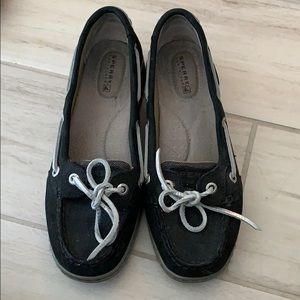 Black and silver Sperrys